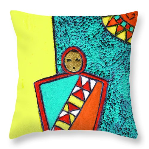 Southwest Throw Pillow featuring the painting Golden Child Of The South West by Wayne Potrafka