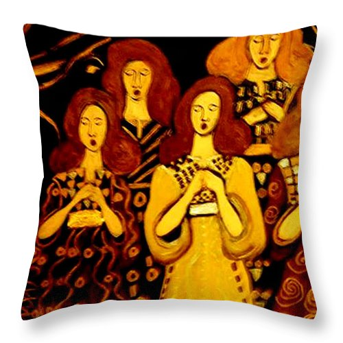 Choir Throw Pillow featuring the painting Golden Chords by Rusty Gladdish