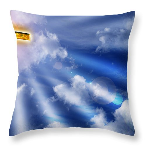 Cross Throw Pillow featuring the photograph Golden Cross by Phill Petrovic