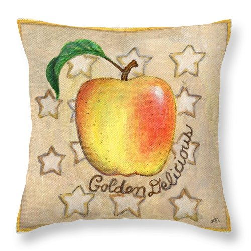 Still Life Throw Pillow featuring the painting Golden Delicious Two by Linda Mears