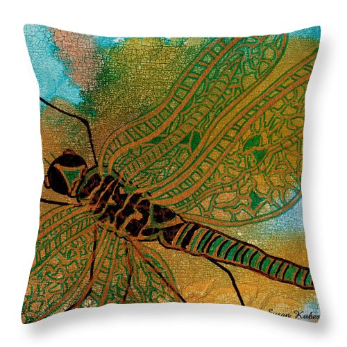 Dragonfly Throw Pillow featuring the mixed media Golden Dragonfly by Susan Kubes