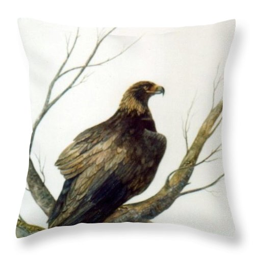 Eagle Throw Pillow featuring the painting Golden Eagle by Ben Kiger
