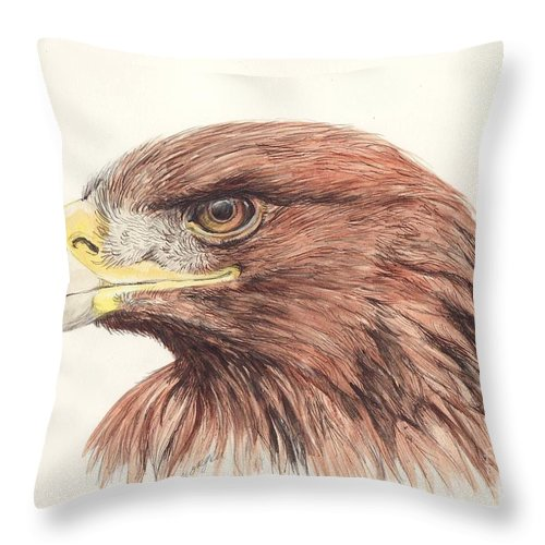 Golden Throw Pillow featuring the painting Golden Eagle by Morgan Fitzsimons