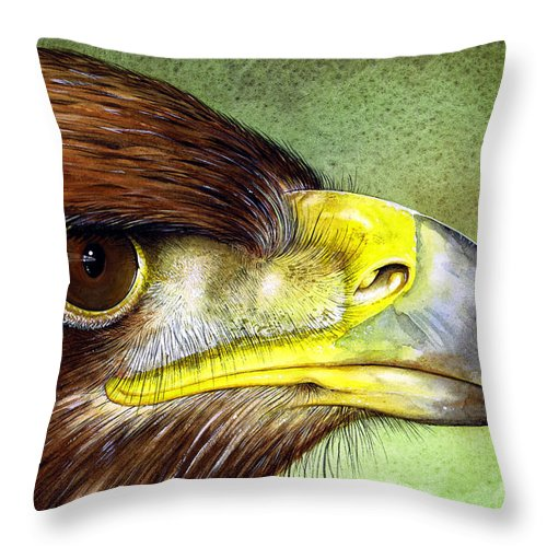 Wildlife Throw Pillow featuring the painting Golden Eagle by Paul Dene Marlor