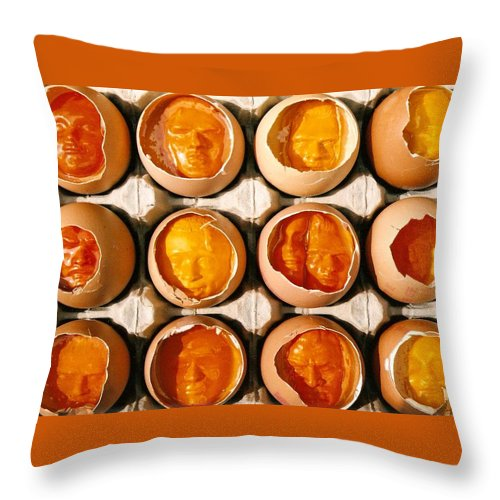Eggs Throw Pillow featuring the sculpture Golden Eggs by Mark Cawood