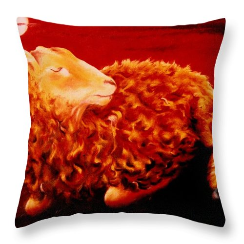 Sunset Throw Pillow featuring the painting Golden Fleece by Mark Cawood