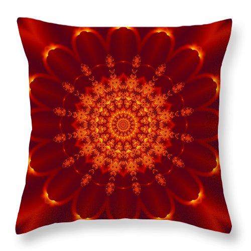 Daisy Throw Pillow featuring the digital art Golden Fractal Mandala Daisy by Ruth Moratz