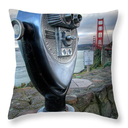 California Throw Pillow featuring the photograph Golden Gate Binoculars by Peter Tellone