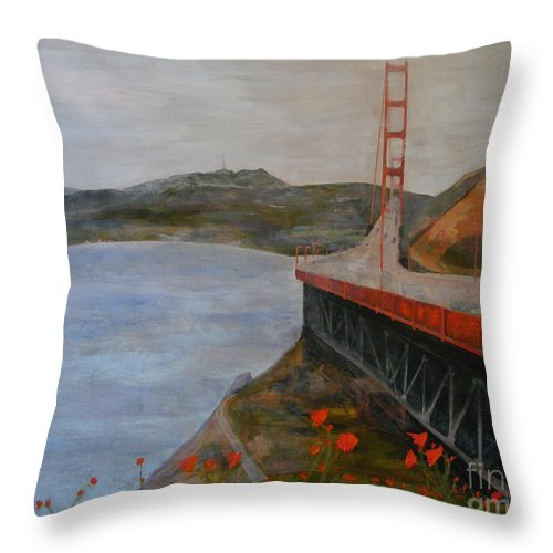 Golden Gate Bridge Throw Pillow featuring the painting Golden Gate Bridge by Ellen Beauregard
