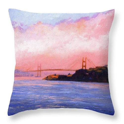 Landscape Throw Pillow featuring the painting Golden Gate Bridge by Frank Wilson