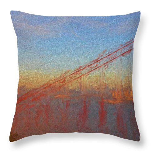 Golden Gate Bridge Throw Pillow featuring the painting Golden Gate Bridge II by Francine Collier