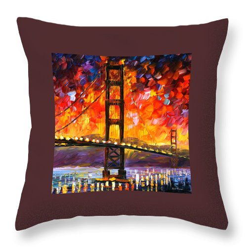 City Throw Pillow featuring the painting Golden Gate Bridge by Leonid Afremov