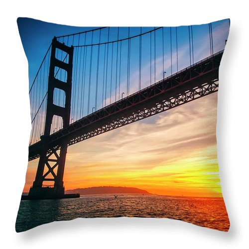 Golden Gate Bridge Throw Pillow featuring the photograph Golden Gate Bridge Sunset by Katya Horner