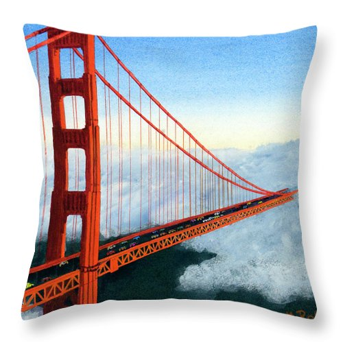 Golden Gate Bridge Throw Pillow featuring the painting Golden Gate Bridge Sunset by Mike Robles