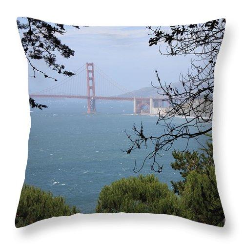 San Fancisco Throw Pillow featuring the photograph Golden Gate Bridge Through The Trees by Carol Groenen