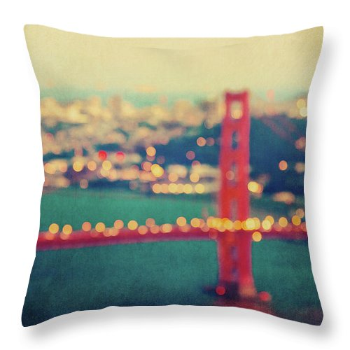 Golden Gate Bridge Throw Pillow featuring the photograph Golden Gate Dreams by Melanie Alexandra Price