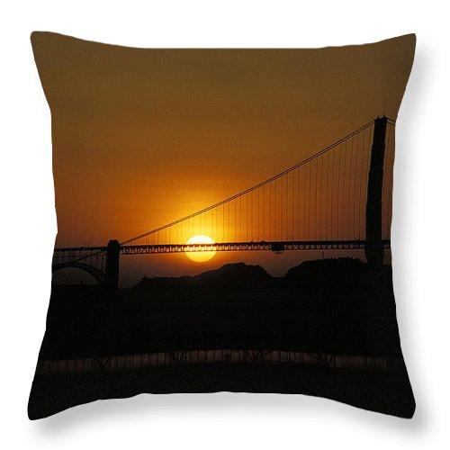 San Francisco Throw Pillow featuring the photograph Golden Gate Sunset by Thomas Firak
