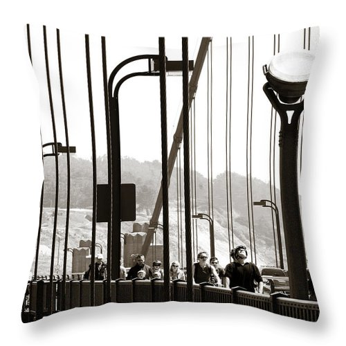 Americana Throw Pillow featuring the photograph Golden Gate Suspension by Marilyn Hunt