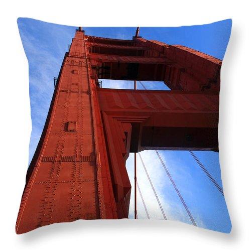 Golden Gate Throw Pillow featuring the photograph Golden Gate Tower by Aidan Moran
