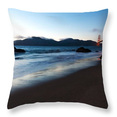 Golden Gate Throw Pillow featuring the photograph Golden Gate Tranquility by Mike Reid