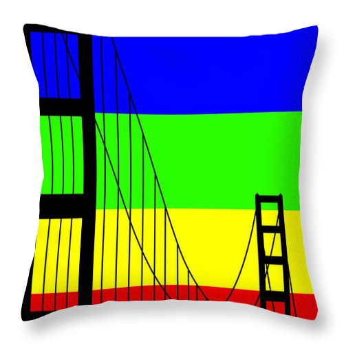 Golden Gate Throw Pillow featuring the digital art Golden Gay by Asbjorn Lonvig
