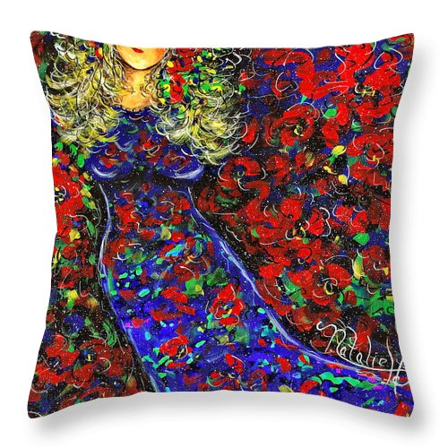 Woman Throw Pillow featuring the painting Golden Girl by Natalie Holland