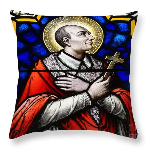 Stained Glass Windows Throw Pillow featuring the photograph Golden Halo by Ed Weidman