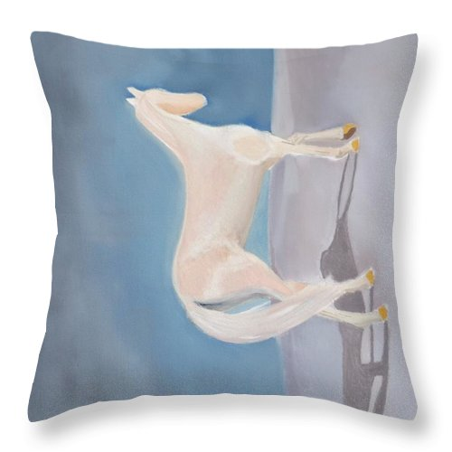 Sand Throw Pillow featuring the painting Golden Horse by Katie Martin