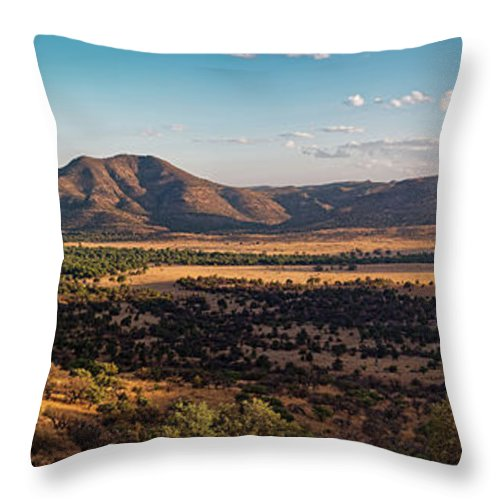 Davis Mountains Throw Pillow featuring the photograph Golden Hour Panorama Of Davis Mountains - Blue And Paradise Mountain And Mount Livermore West Texas by Silvio Ligutti