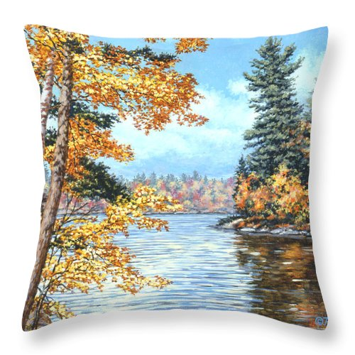 Autumn Throw Pillow featuring the painting Golden Lake by Richard De Wolfe