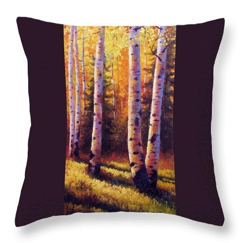 Light Throw Pillow featuring the painting Golden Light by David G Paul