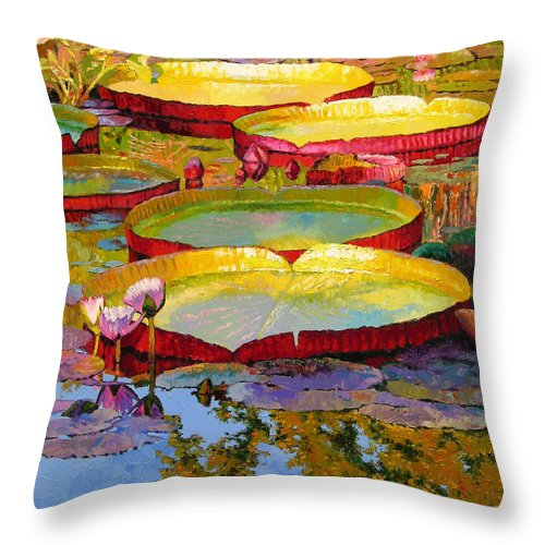 Sunlight Throw Pillow featuring the painting Golden Light on Pond by John Lautermilch