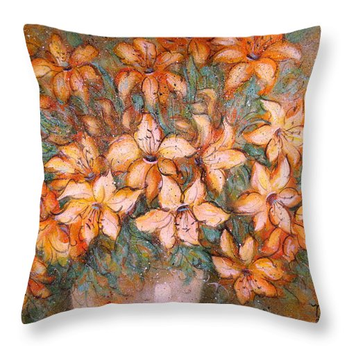Yellow Lilies Throw Pillow featuring the painting Golden Lilies by Natalie Holland