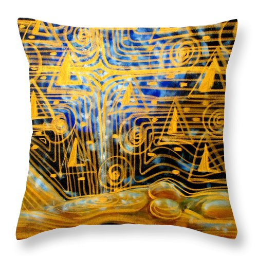 Meditation Throw Pillow featuring the painting Golden Meditation by Inga Vereshchagina