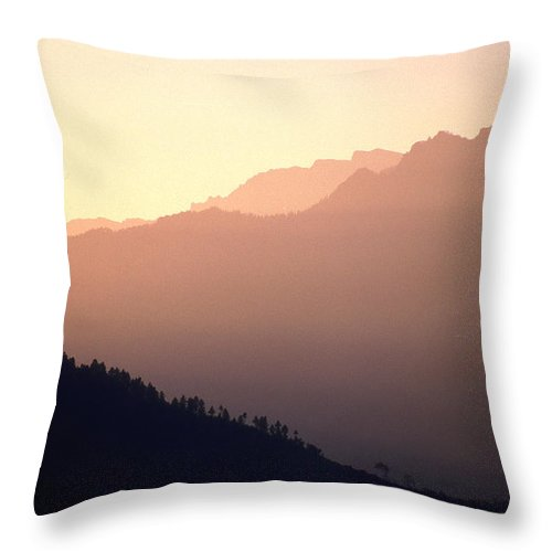 Langtang Throw Pillow featuring the photograph Golden Mountains by Patrick Klauss