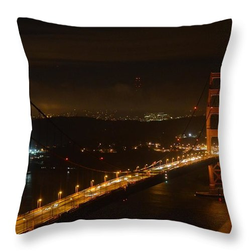 Golden Gate Bridge Throw Pillow featuring the photograph Golden Night View 292 by Remegio Dalisay