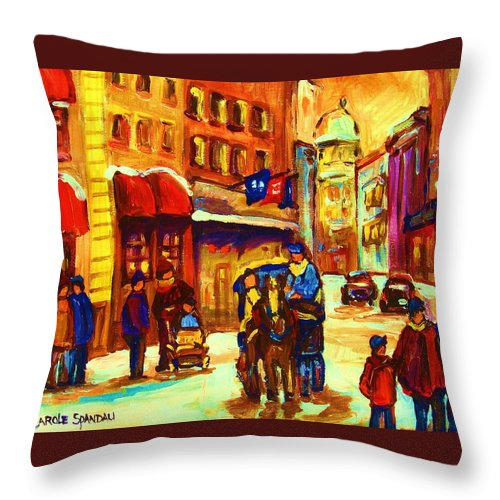 Montreal Throw Pillow featuring the painting Golden Olden Days by Carole Spandau