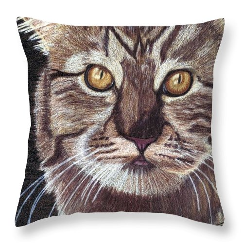 Cat Throw Pillow featuring the painting Golden One by Anita Putman