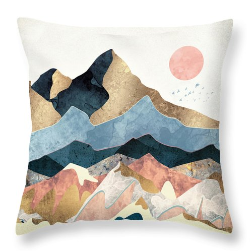 Gold Throw Pillow featuring the digital art Golden Peaks by Spacefrog Designs