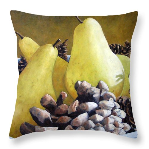 Canadian Throw Pillow featuring the painting Golden Pears And Pine Cones by Richard T Pranke