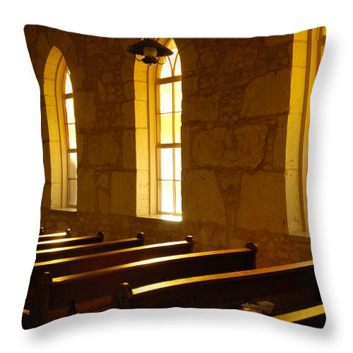 Worship Throw Pillow featuring the photograph Golden Pews by Jill Reger