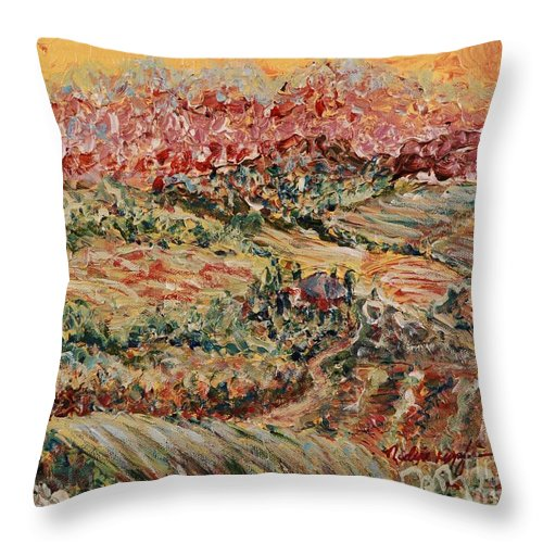 Provence Throw Pillow featuring the painting Golden Provence by Nadine Rippelmeyer