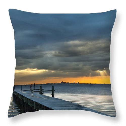 Sunset Throw Pillow featuring the photograph Golden Rays by Norman Johnson