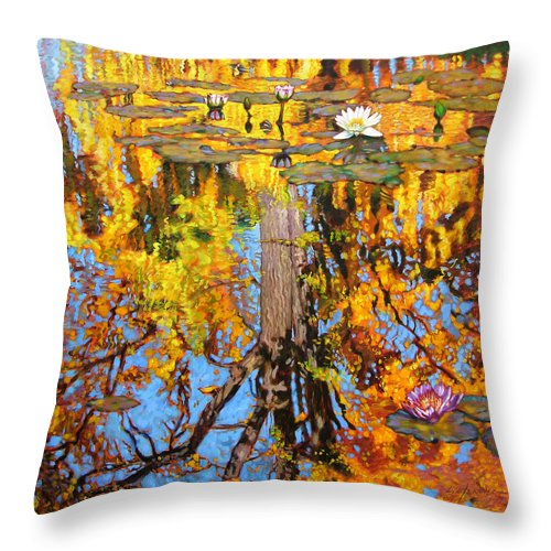 Landscape Throw Pillow featuring the painting Golden Reflections On Lily Pond by John Lautermilch