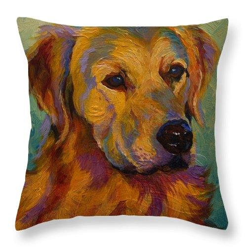 Golden Throw Pillow featuring the painting Golden Retriever by Marion Rose