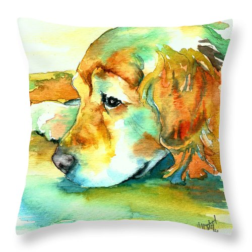 Golden Retriever Throw Pillow featuring the painting Golden Retriever Profile by Christy Freeman