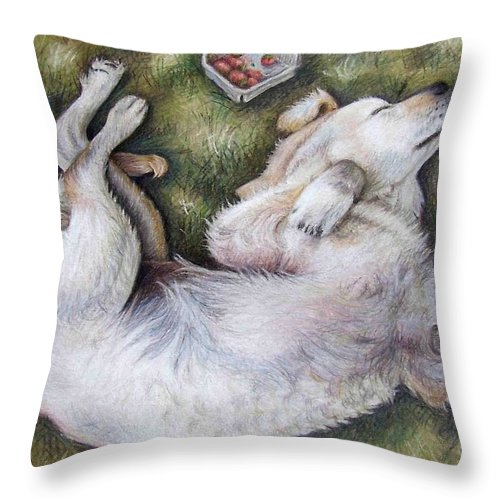 Dog Throw Pillow featuring the pastel Golden Retriever Puppy by Nicole Zeug