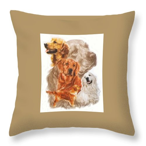 Dog Throw Pillow featuring the mixed media Golden Retriever W/ghost by Barbara Keith