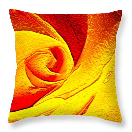 Rose; Fantasy; Red; Yellow; Flower; Bloom; Bud; Blossom; Petals; Abstract; Impression; Impressionism; Art; Gold; Golden Throw Pillow featuring the digital art Golden Rose by Francesa Miller