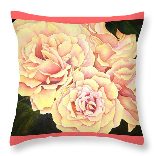 Roses Throw Pillow featuring the painting Golden Roses by Rowena Finn